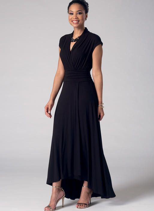 M7350 Misses' Gathered scoop neck or Surplice dress