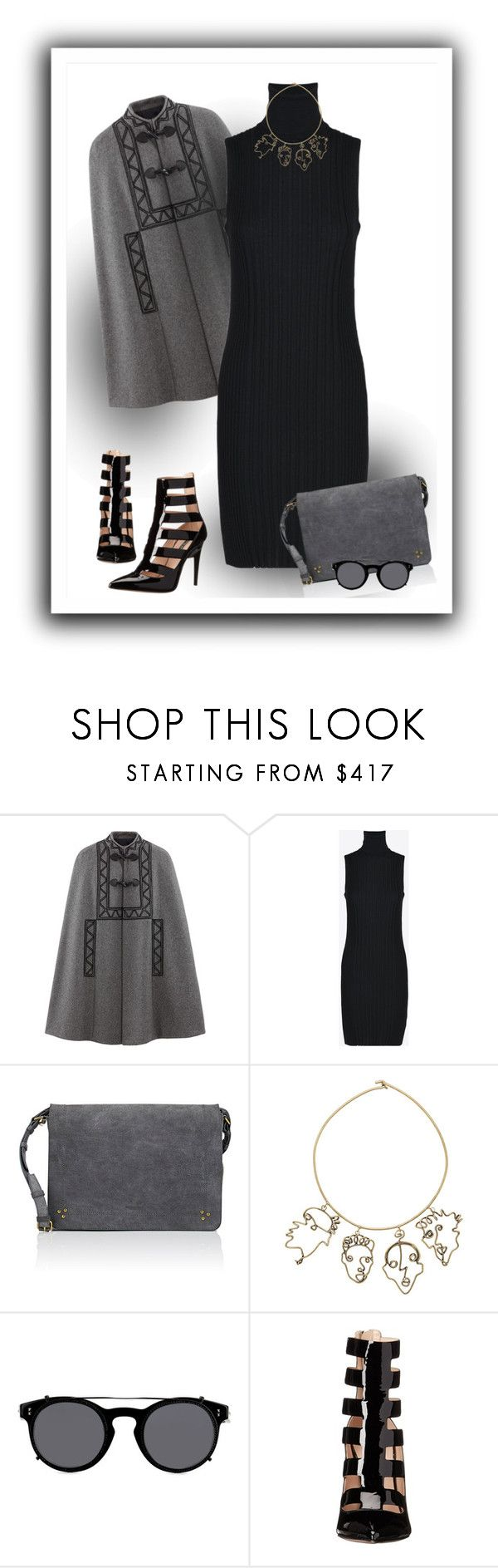 """Grey Soft"" by michelletheaflack ❤ liked on Polyvore featuring Maison Margiela, Jérôme Dreyfuss, Rosie Assoulin, Valentino, Ruthie Davis, Your, styleinsider and simplebutneverplain"