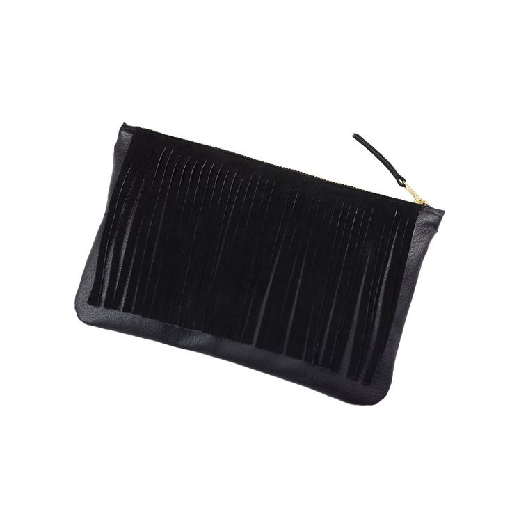 RECYCLED LEATHER / SUEDE FRINGE CLUTCH