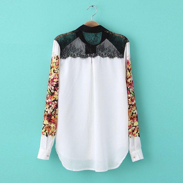 Camisa feminina de chiffon detalhe em renda