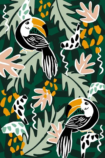 Pattern collection inspired by the jungle and birds. Dora Szentmihalyi