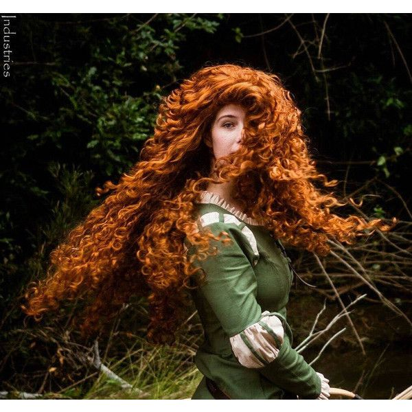 Princess Merida Brave Adult Costume Wig Style 2 A True Enchantment... (£220) ❤ liked on Polyvore featuring costumes, wig costume, adult princess costume, merida halloween costume, merida costume and princess costumes