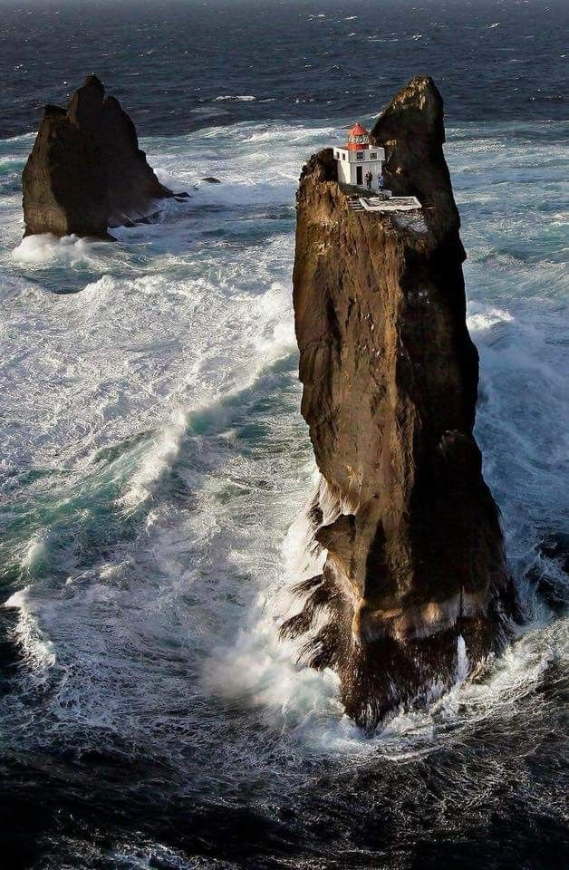 Located six miles from shore, it is one of the most isolated lighthouses in the world. It's named Thridarangar, which means 'three rocks' in English, as it is perched atop the highest of three steep islands, with the cold Atlantic Ocean thrashing around below on all sides.   The lighthouse, built in 1939, can be found west of the Vestmannaeyjar, or Westman, Islands, off the coast of southern Iceland.