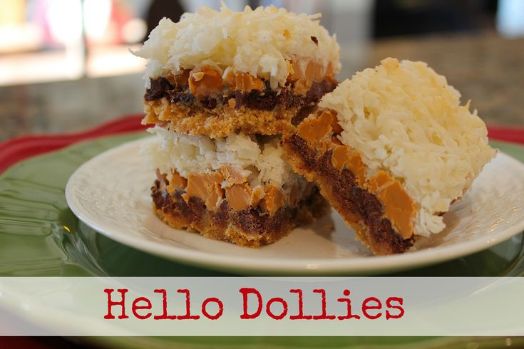 Hello Dollies are chock full of chocolate, butterscotch, and coconut! These are from TheHillHangout.com.