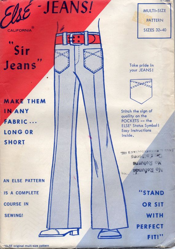 Else 400 1970s Mens Pants Pattern Bell Bottoms Sir Jeans