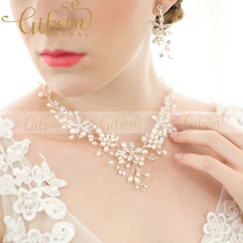 Freshwater Pearls Beaded Wedding Costume Jewelry Sets Vintage Wedding Bridal Necklace And Earring Set