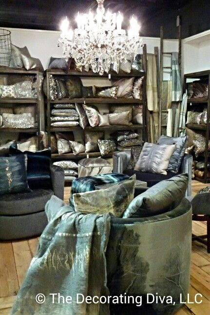 Luxe textiles from Aviva Stanoff in a range of blues and silvers. Spotted at High Point Market fall 2013. #HPMKTHighpoint Fall