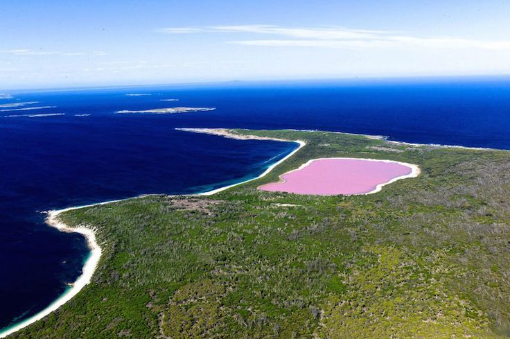 Lake Hillier, Australia. Only by helicopter. 2 hour flight, $2000.