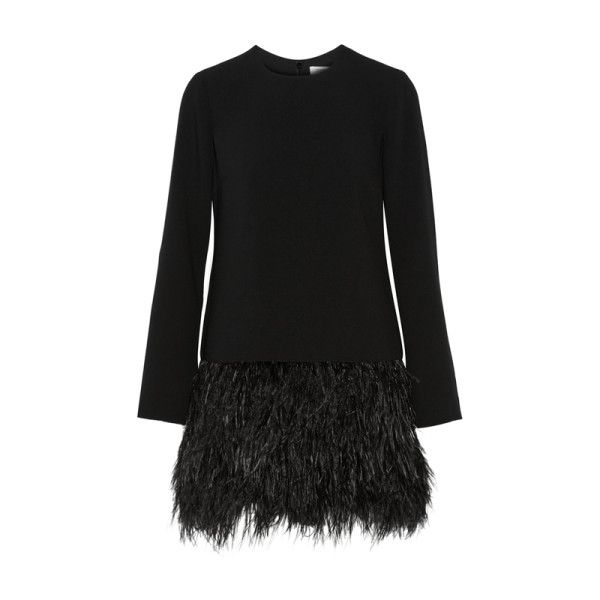 Elizabeth and James feather trimmed mini dress