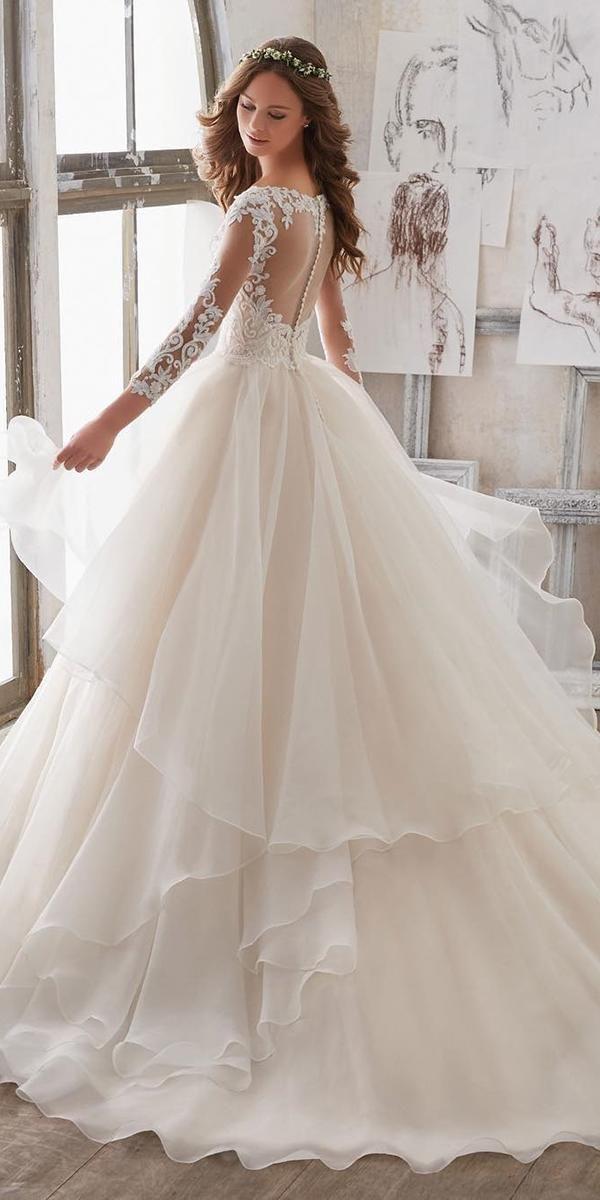 27 Wedding Dresses Fall 2018. Ball gown long sleeve lace back blush wedding  dress bu dc35594a7a4f