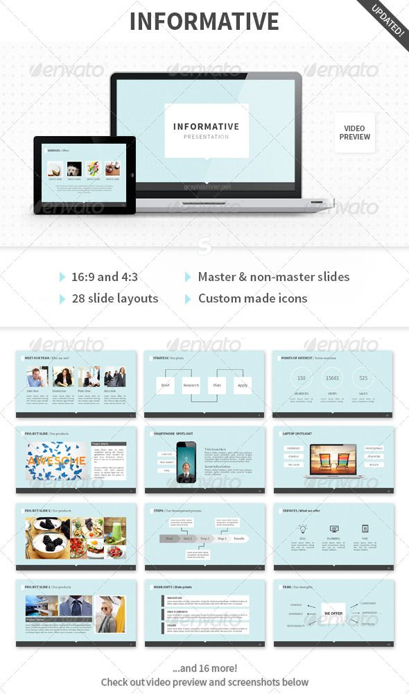 Informative PowerPoint Template  #GraphicRiver         - Informative –  Clean & Professional multipurpose PowerPoint presentation template.  Features include: - 16:9 HD and 4:3 aspect ratio slides - 28 slide layouts - Light and dark style - Animated slides - PPTX, PPT, PNG, PSD files included - PSD's with organized & editable layers Fonts: (please download & install fonts before editing template) - Calibri (default system font) - Source Sans Pro, - Source Sans Pro Light - (It's free…