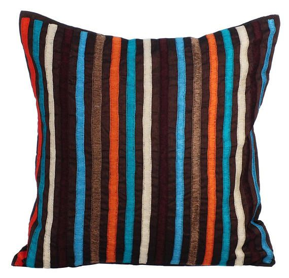 Luxury Colorful Throw Pillows Cover 16x16 Brown