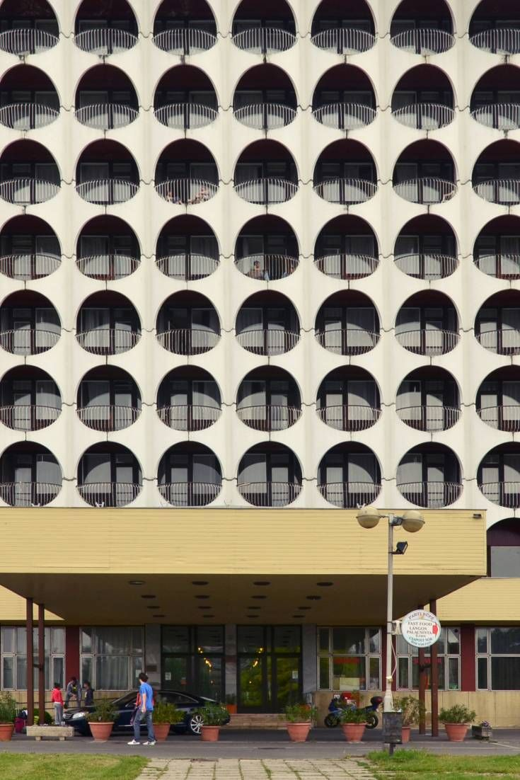 This retro hotel on the shores of Lake Balaton offers great examples of the visual styles that buildings from this era can offer for films and photo shoots.