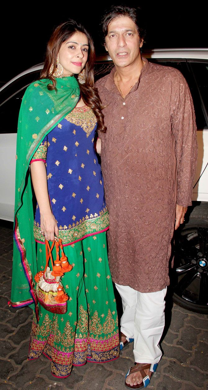 Chunkey Pandey and wife Bhavna at Anil Kapoor's #Diwali bash. #Bollywood #Fashion #Style #Beauty #Hot #Desi #WAGS