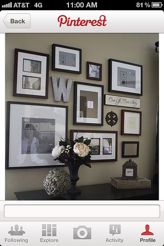 picture frame layouts on walls --Love the letter... I might do that but in a frame as well.