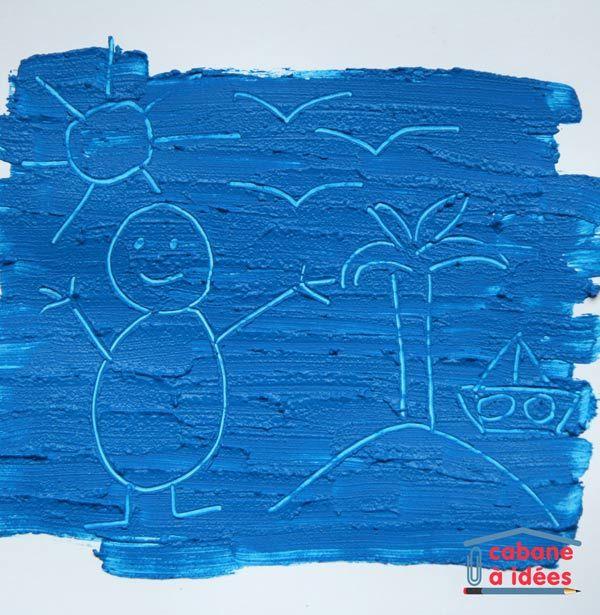 Rajoutez un peu de farine dans de la peinture et vous transformerez une activité de peinture en activité de dessin gravé ! En effet, la farine rajoute de l'épaisseur à la peinture qui peut alors être grattée avec une pointe fine. C'est une chouette activité à faire avec des tout-petits (qui ont compris quand même comment marche un pinceau!) Matériel nécessaire pour graver dans la peinture Si vous avez de la peinture, alors c'est bon, puisqu'il faut seulement :  des feuilles blanches ...
