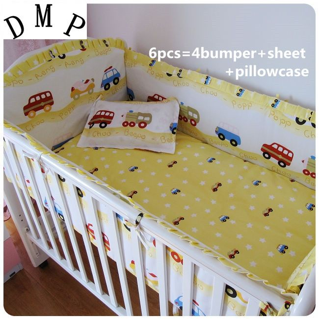 42.80$  Buy now - http://alib4w.shopchina.info/1/go.php?t=32381700734 - Promotion! 6pcs Car Baby Crib Bedding Set cotton the cotton baby bed around  (bumpers+sheet+pillow cover)  #aliexpressideas