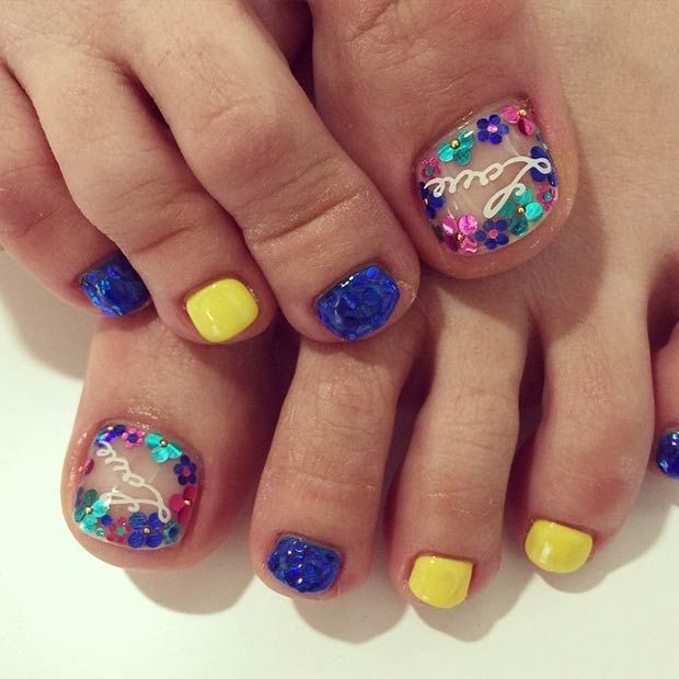 Blue and Yellow Toe Nail Design