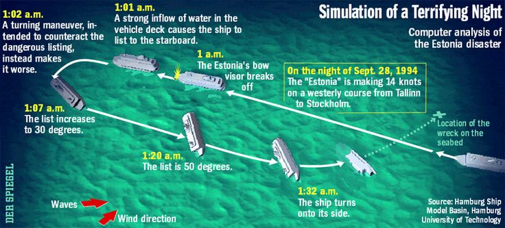 Simulation of a Terrifying Night - Scientists in Hamburg recently simulated the sinking of the Estonia, the 1994 Baltic Sea ferry disaster that killed 852 people. They discovered that the vessel was traveling much too fast in stormy seas and that the crew's attempts to save the ship by turning it actually caused it to capsize.