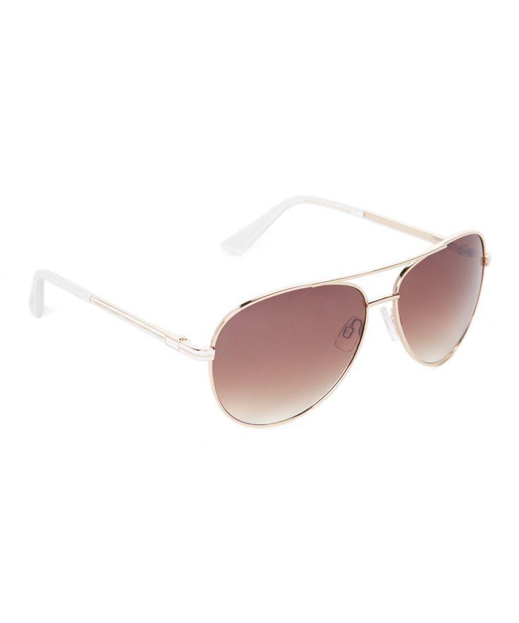 Laundry by Shelli Segal Gold & White Aviator Sunglasses by Laundry by Shelli Segal #zulily #zulilyfinds