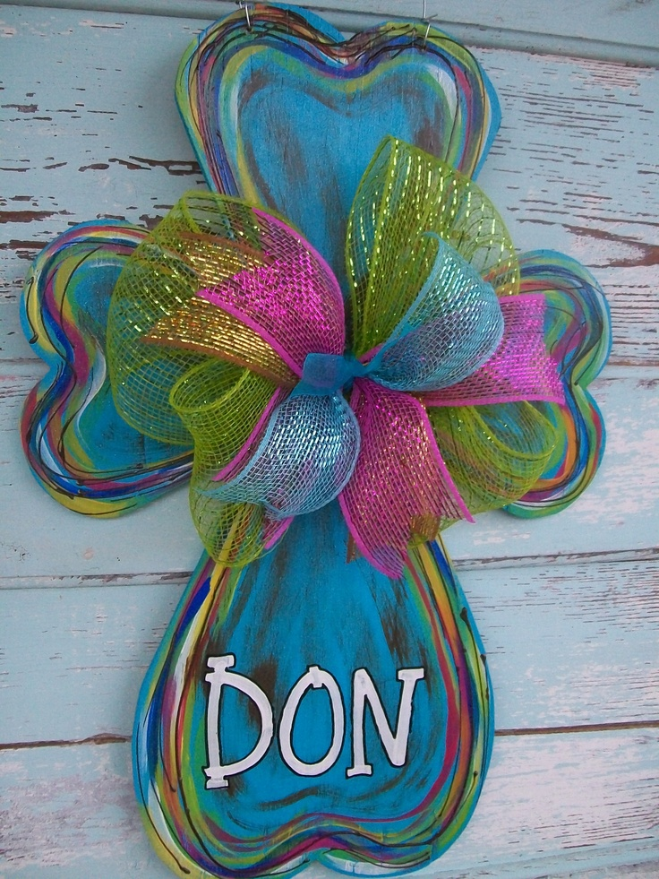 "Cross door hanger or wall hanging. Approx. 20"" tall. $35 plus 10 ship. Visit Blue Pickle Designs on Facebook for ordering details...& lots more aDOORable door hangers & custom canvas art!"