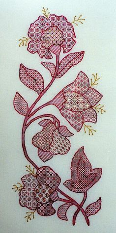 Jacobean Flowers blackwork