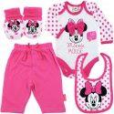 Vauvan pinkki Disneyn Minni Hiiri-teemainen vaatesetti. Setissä pitkähihainen body, housut, ruokalappu ja tossut.