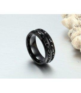 nemesacél gyűrű, Fekete kövekkel díszített férfi gyűrű