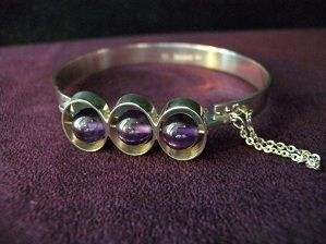 Silver Bracelet with Lilac Stones
