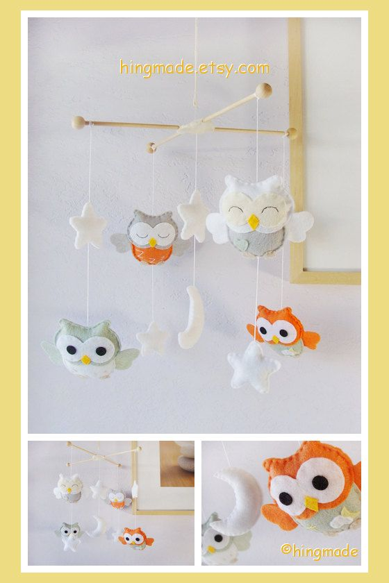 Owl Mobile  Baby Mobile  Nursery Decor  Baby Room by hingmade, $85.00
