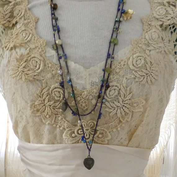 Haakwerk Beaded lange Strand Wrap ketting of door ResurrectionRags1