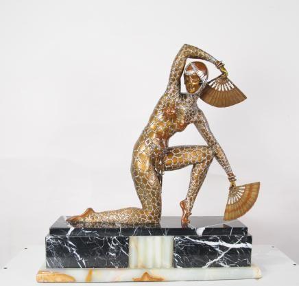 Art Deco Chiparus Bronze Fan Dancer Figurine Statue 1920s