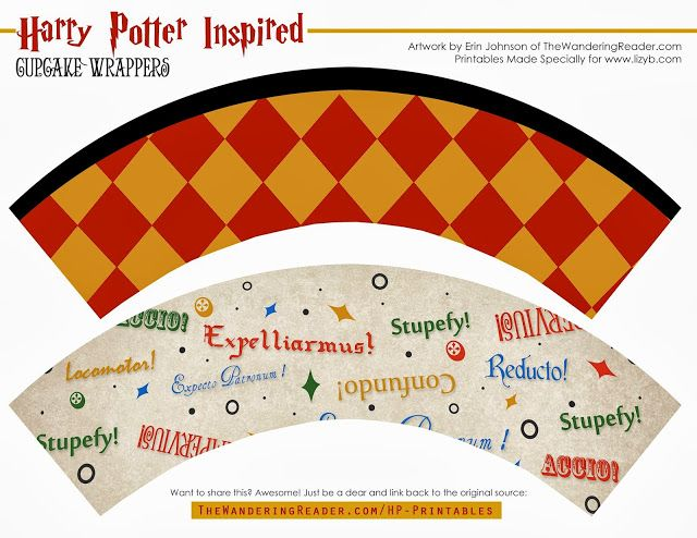 Harry Potter and Halloween Free Printable Cupcake and Chocolates Wrappers.