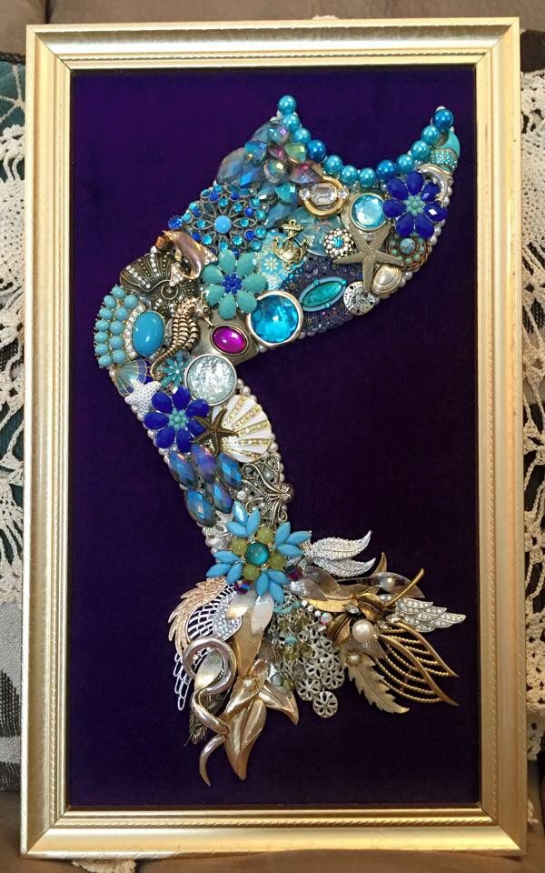 Handmade upcycled vintage jewelry mermaid tail framed artwork