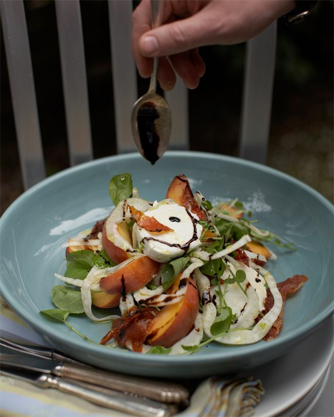 ... peach, shaved fennel, mozzarella and crispy prosciutto salad