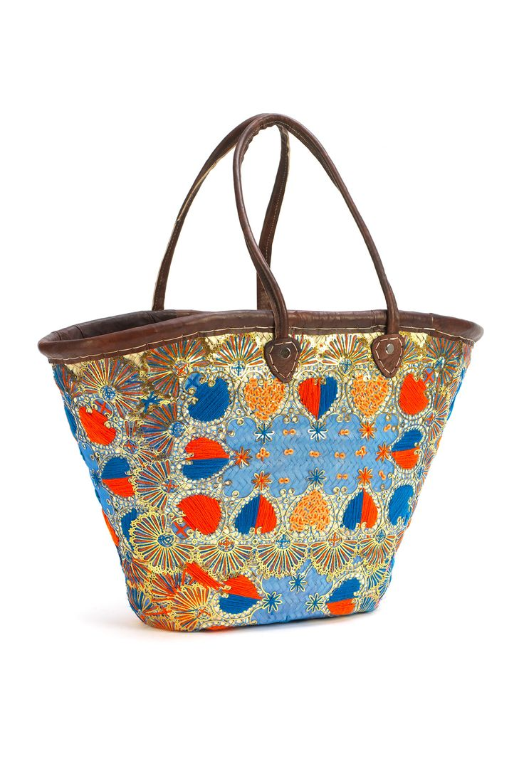 Large artisan blue and orange heart embroidered bag