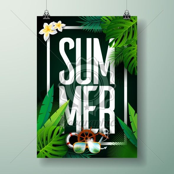 Graphic_150_54_summer Vector Summer Time Holiday typographic illustration on palm leaves background. Tropical plants and flowers. - Royalty Free Vector Illustration