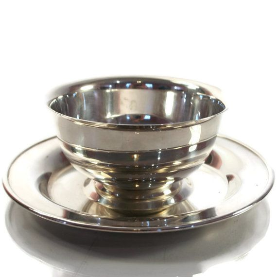 Vintage Wm William Rogers Silverplate Sauce Bowl with Underplate - Midcentury -- Silver Gravy Boat -- Saucier
