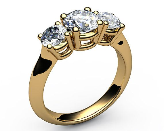 Classic 3-stone Diamond Engagement Ring, fully handmade, very accurate, and, clean job, by the most, talented Jewelry Designer. The material is ,18K Solid Yellow Gold or you can choose for White gold, very rich, classy & elegant look, beautiful gift, for yourself or your loved one, nice present, for a ,birthday, or, anniversary.Item will be sent in a elegant jewelry gift package.   Setting: Metal type: 18K White or Yellow gold Weight: 5.2 gram Setting type: Classic prong setting Image sh...