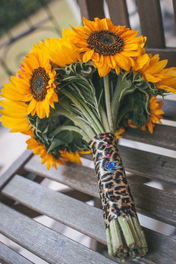 Sunflower Bouquet Leopard Print Ribbon Pretty Party Pub Informal Wedding http://www.emmalucyphotography.com/