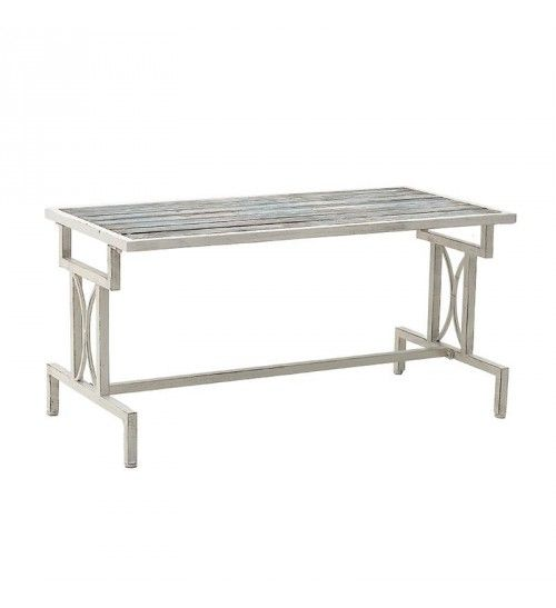 METAL_WOODEN COFFEE TABLE IN WHITE COLOR 110X55X55