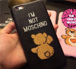 iphone7 ケースブランドモスキーノ正規品MOSCHINOテディベア熊クマ革貼りiPhone6s Plus本革刺繍携帯カバー