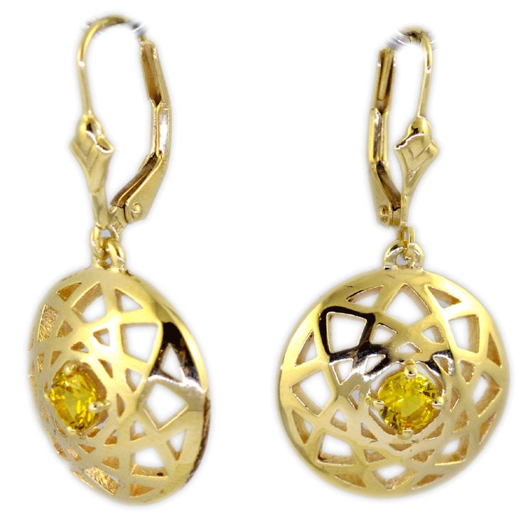 Bright yellow sapphires in buttery yellow gold earrings