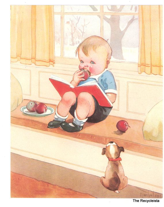 Vintage Health Poster, Charles Twelvetrees, Childrens Illustration, Boy Puppy…