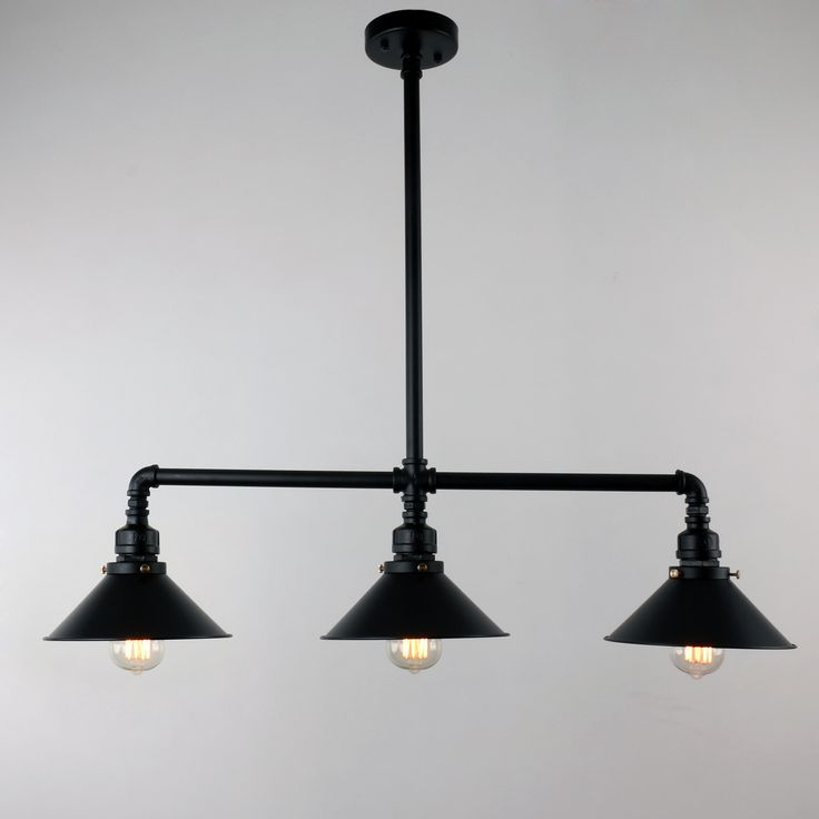 UNITARY BRAND Black Antique Rustic Metal Shade Hanging Ceiling Pendant Light Max. 120W With 3 Lights
