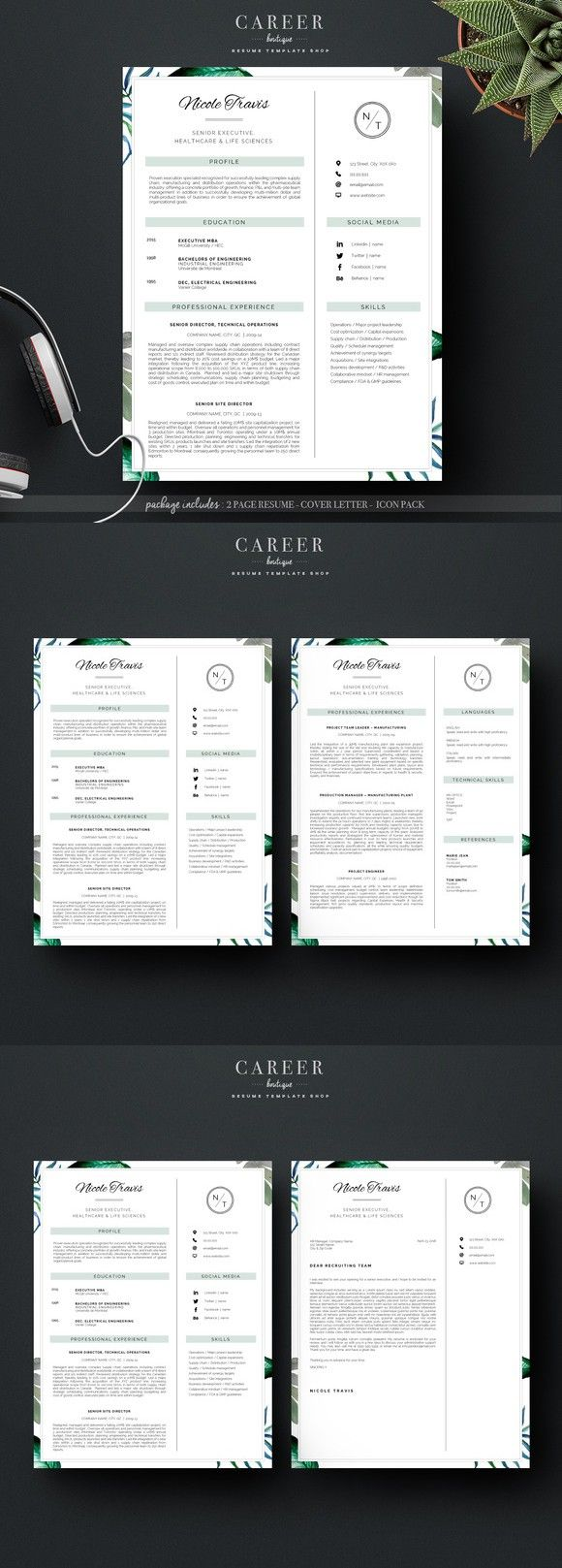 Modern Resume u0026 CoverLetter Template 1113 best