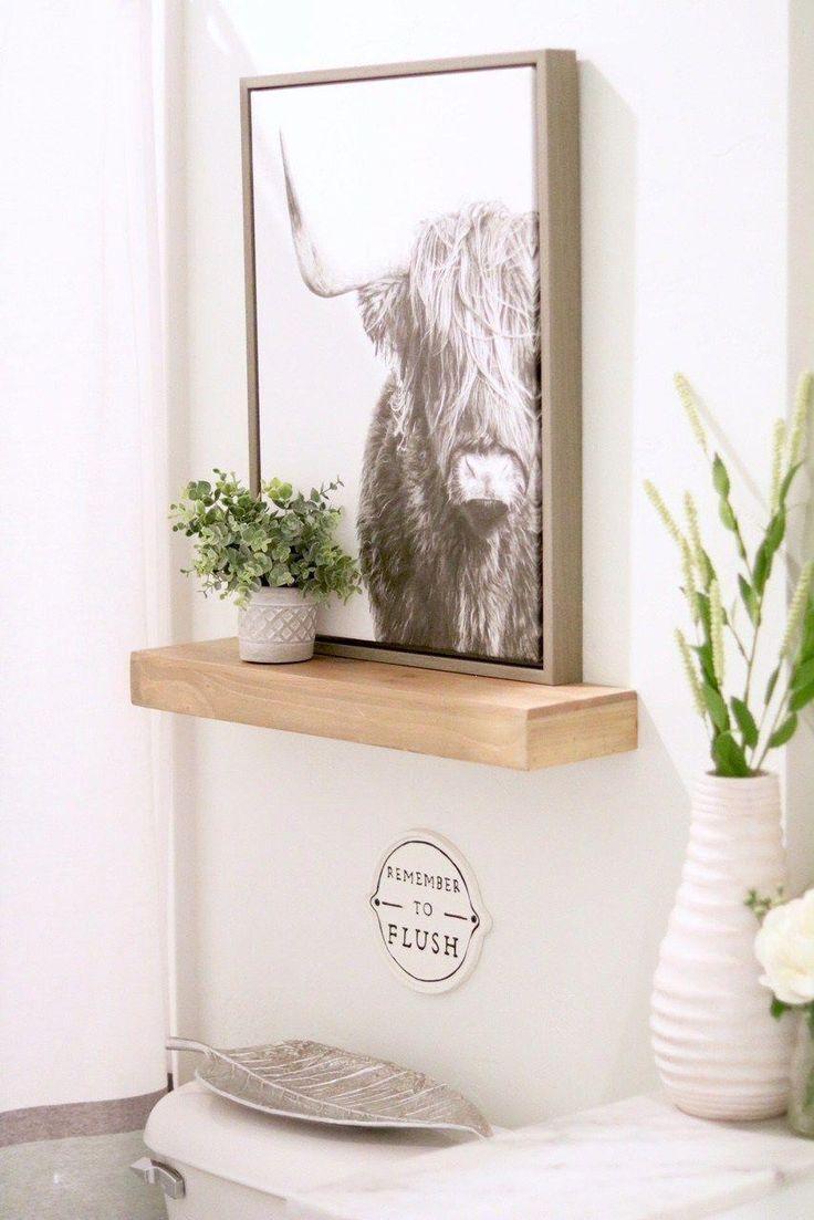 Above Toilet Decor – Farmhouse Small Bathroom #bathroomshelves   – bathroom shel…   – most beautiful shelves