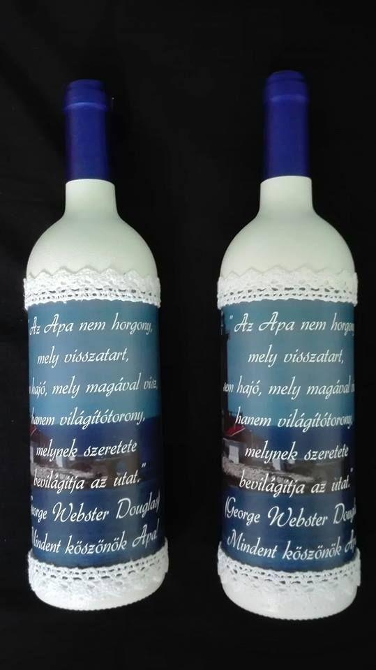 Szülőköszöntő boros üveg.
