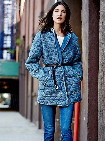 Chambray Quilted Jacket | Free People Collarless quilted chambray coat, in a worn-in washed fabric, with a hidden zip closure and side pockets.