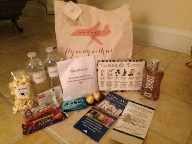 Contents From Welcome Bag For Destination Wedding In Miami These Include A Personalized Itinerary